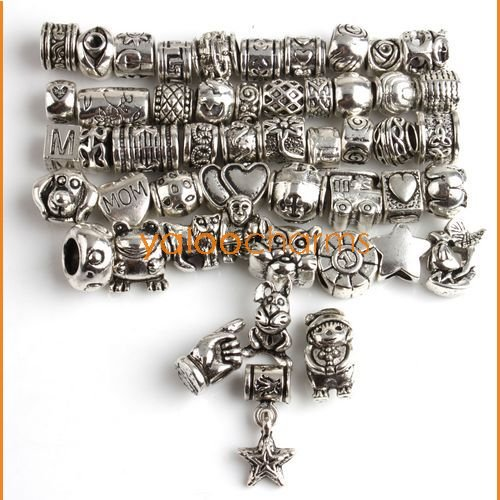 Wholesale- 50 MIXED 50 DESIGN Charms alloy Beads Tibetan Silver DIY BEADS Fit CHARM Bracelets JOBLOT 151315(China (Mainland))