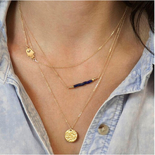2015 Charm Brand Gold silver Plated multi layer Bar Necklace Collar Chain Choker Necklace Pendant Statement