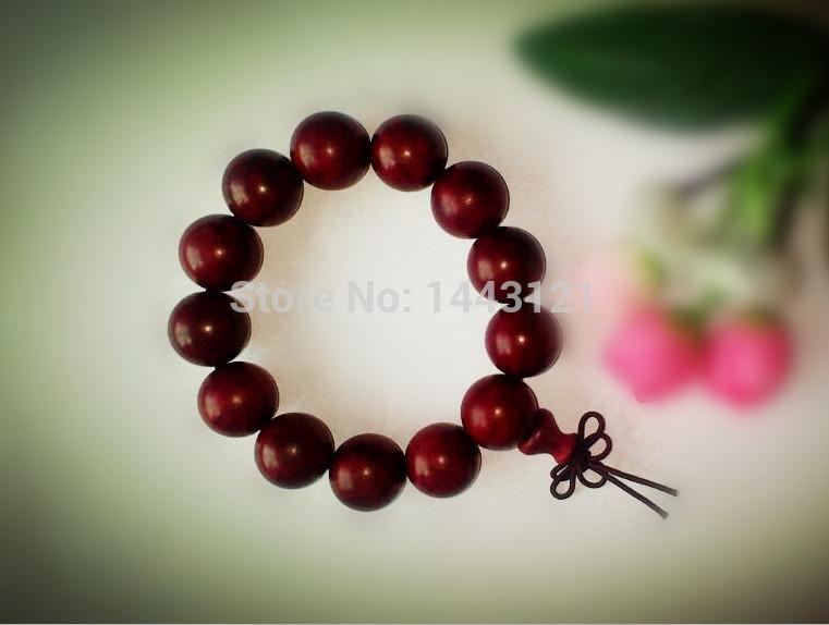 wholesale natural wood bracelets mens gold plated ebony big chunky beads 18mm high quality gift buddha jewelry Shambhala(China (Mainland))