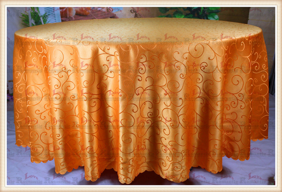 Orange hook flower Jacquard Tablecloth/Table Cover For Wedding Party Hotel Banquet Home Decorations(Chair covers&Sashes&curtain)(China (Mainland))