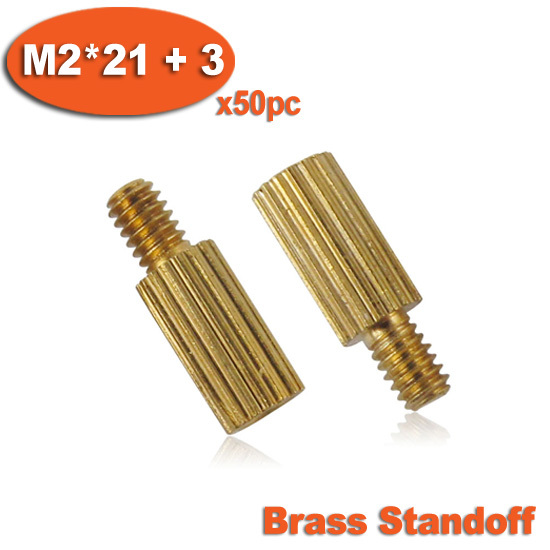 50pcs Male To Female Thread M2 x 21mm + 3mm Cylinder Shaped Brass Standoff Spacer Pillars<br><br>Aliexpress