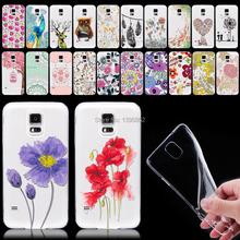 Для Samsung Galaxy S5 i9600 телефон чехол ультра тонкий мягкие Tpu прозрачный кот цветы ясно назад телефон