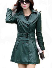 2 Uses For Short And Long Green Leather Coats Women Faux Leather Jacket Turn-Down Collar Jaqueta Couro Jaqueta De Couro Feminina(China (Mainland))