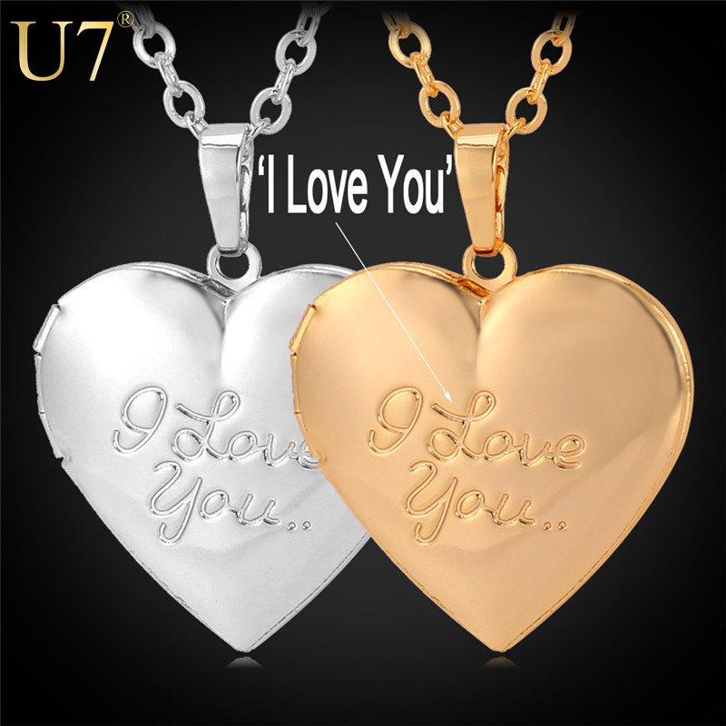 """New Fashion Jewelry Women Gift 18K Real Gold Plated Choker Chain Locket """"I Love You"""" Romantic Heart Necklaces Pendants P388(China (Mainland))"""