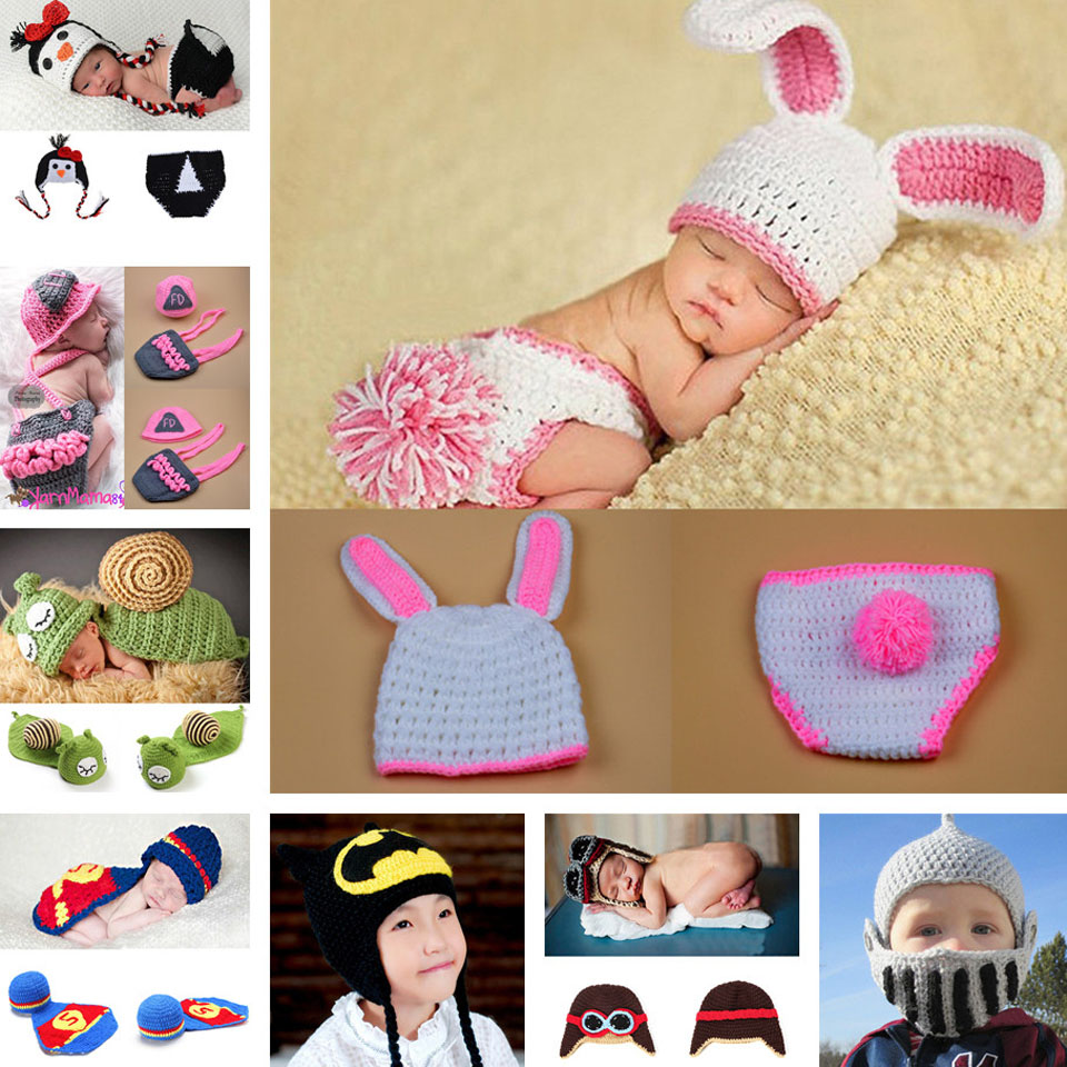 Unisex Cute Handmade Photography Props Crochet Baby Beanie+Shorts Suits Newborn Animal Design Costume Outfies 1set MZS-15032(China (Mainland))