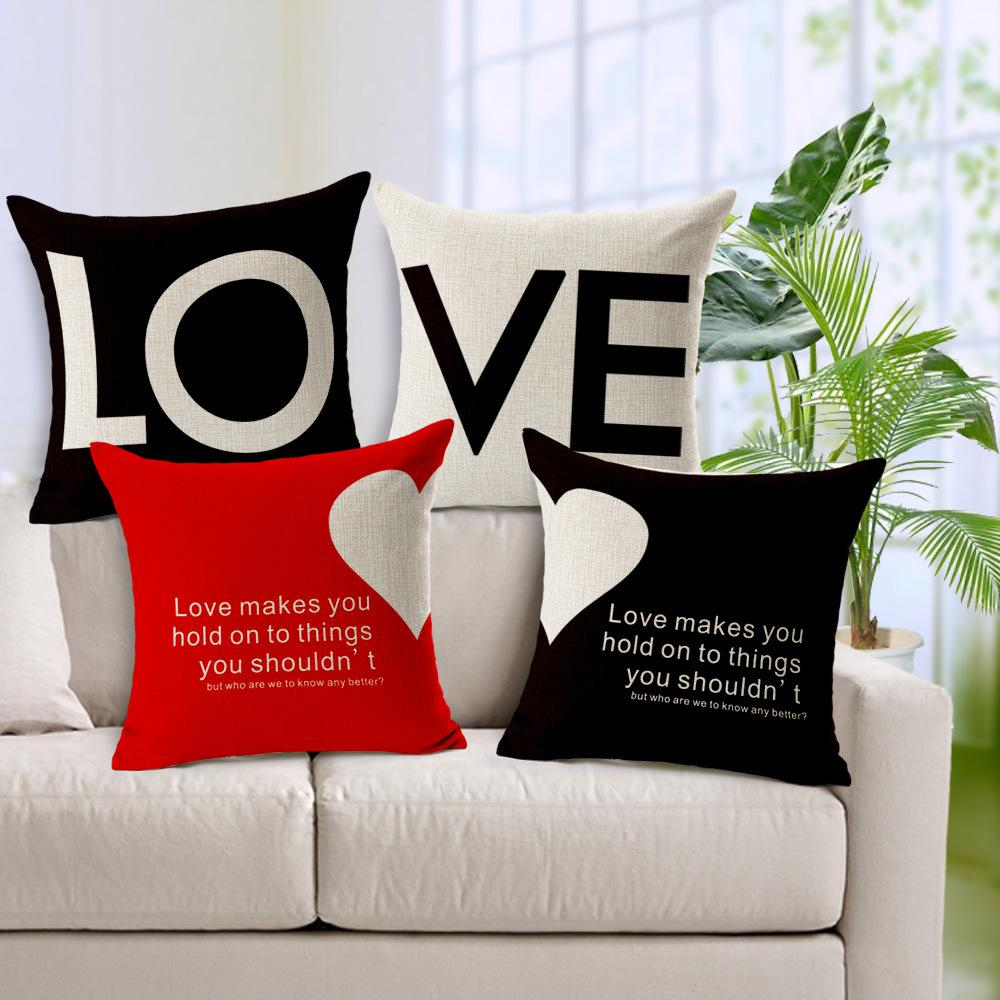 cushion cover love heart shape print pillow cover sofa home decorative pillowcases fundas para almofadas cojines