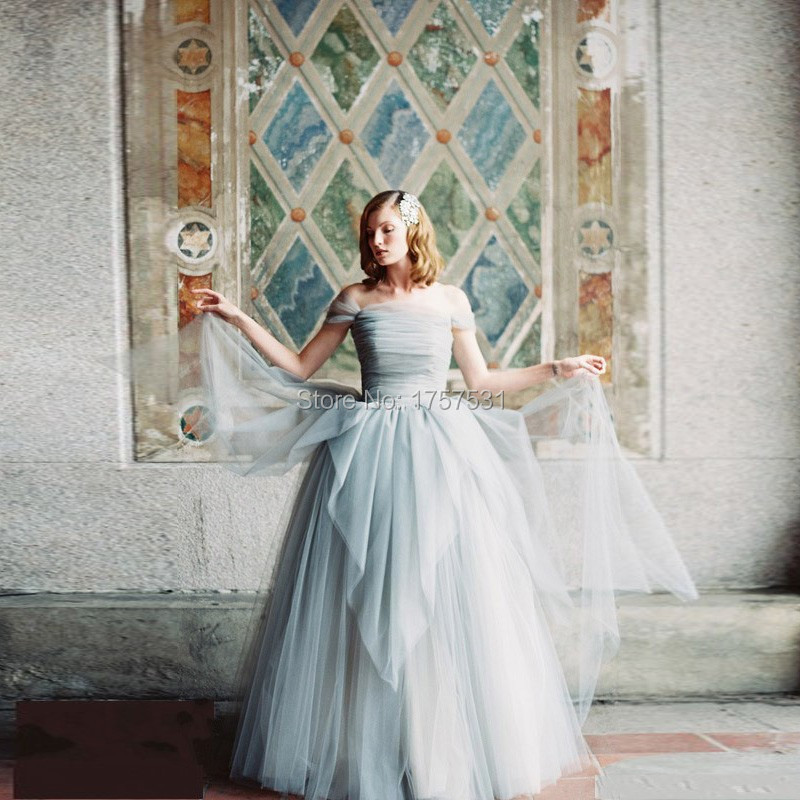2015 vintage ruffles tiered tulle wedding dresses floor for Vintage off the shoulder wedding dresses