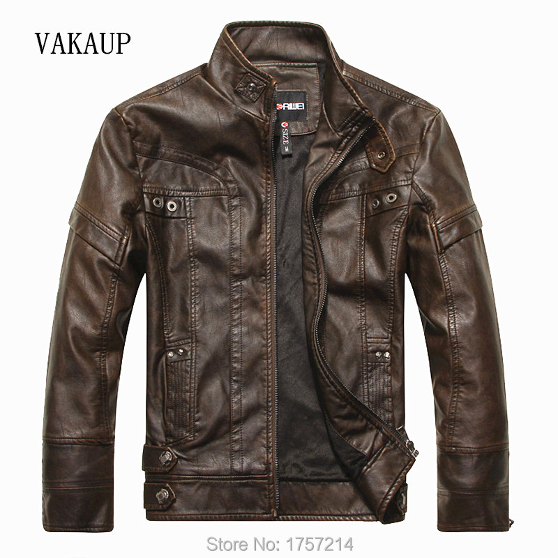 Mens Brand Spring Vintage Leather Jacket motorcycle Men High Grade PU Leather Jackets Autumn and winter Clothing Quality Jacket(China (Mainland))