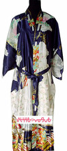 Sexy Navy Blue Chinese Women's  Silk Rayon Robe Kimono Bath Gown S M L XL XXL XXXL Free Shipping WS-9(China (Mainland))