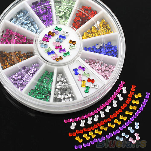 3mm Multicolor 3D Bowknot Nail Art Stickers DIY Manicure Tips Decoration Wheel <br><br>Aliexpress