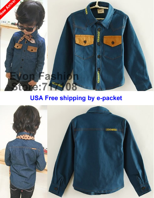 2015 fall new arrival wholesale cowboy cool boy denim patchwork pocket letter embroid children Blouses kid Shirts(China (Mainland))