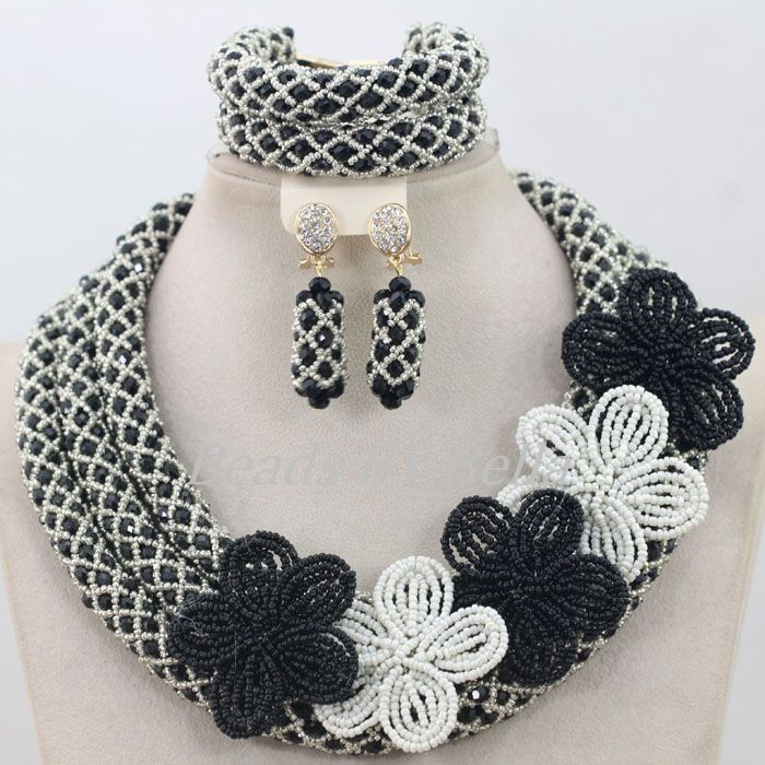 Hot Design Nigerian Wedding Necklace Jewellery Set Women Costume Black Crystal Beads African Jewelry Set Free Shipping ABF667(China (Mainland))