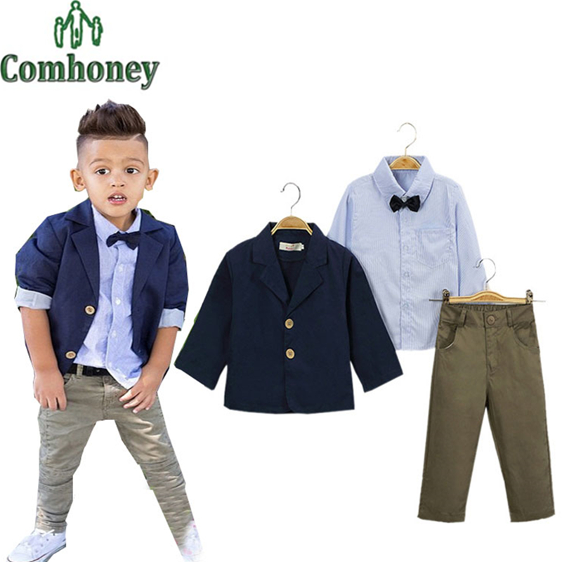 Kids Suit Boys Wedding Blazer Jacket+Tie Shirt+Pants Formal Set Baby Birthday Evening Party Clothes Casual Child Tuxedo Suit(China (Mainland))