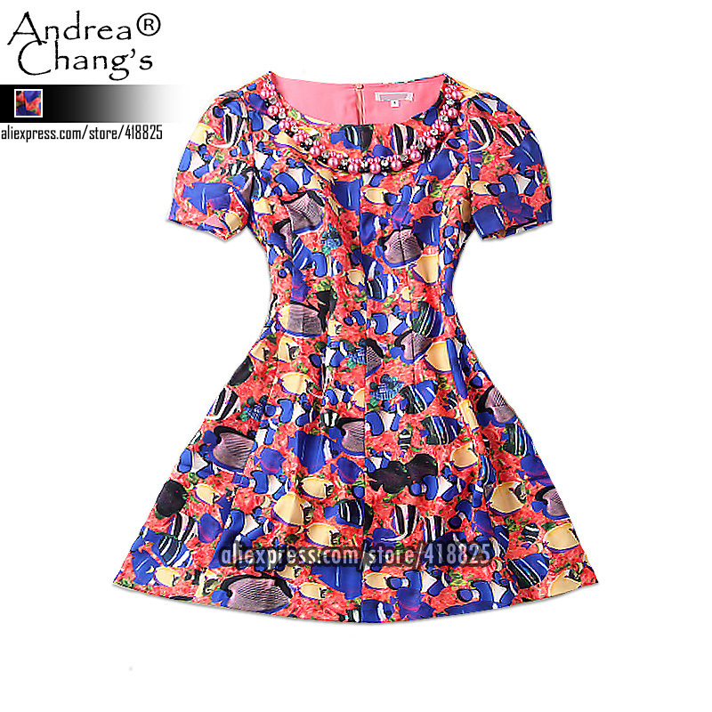 2014 early spring summer designer womens dresses sea world fish print necklace free necklace fashion vintage cute brand dressОдежда и ак�е��уары<br><br><br>Aliexpress