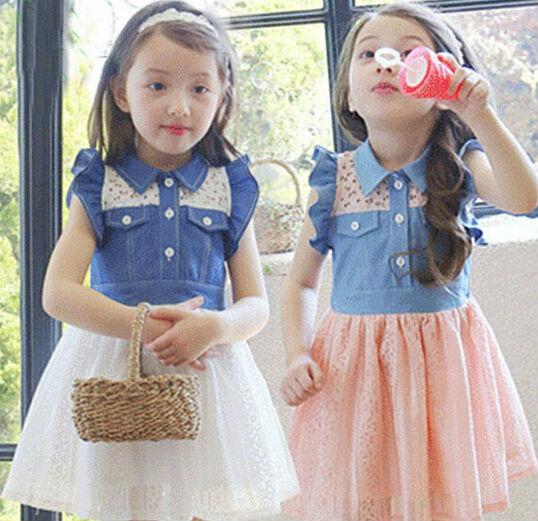 Free shipping 5pc/lot Fashion Sleeveless Children Denim Dress Little Girl Spliced Denim Dress White Pink(China (Mainland))
