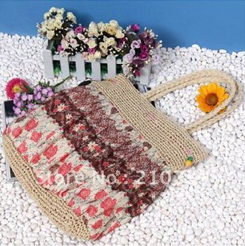 Free shipping,promotional handbag, totes handbag,wheat straw bag.beach bag,wholesale and retail Promation!