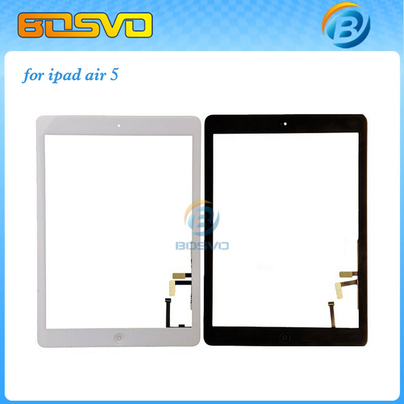 Glass for iPad Air touch screen digitizer with home button complete assembly for ipad 5 with 3m adhesive 1 piece free shipping(China (Mainland))