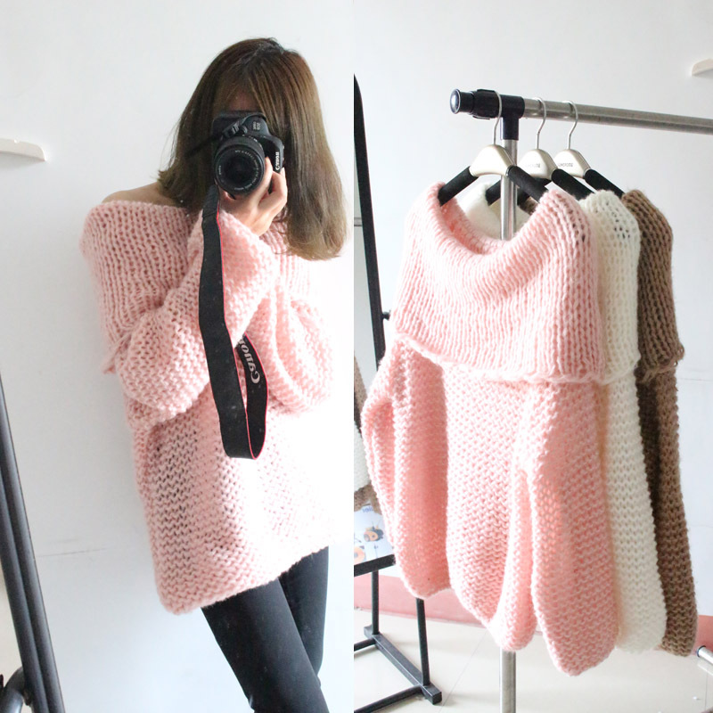 2015 Spring and Autumn new Japanese big tub turtleneck strapless loose pullover female European and American common women dress(China (Mainland))