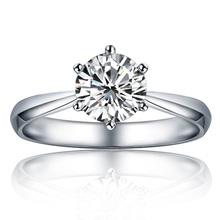 Fashion Love's 14K White Gold 0.50 Carat Charles&Colvard Lab Created Moissanite Engagment Women Ring Free Shipping!(China (Mainland))