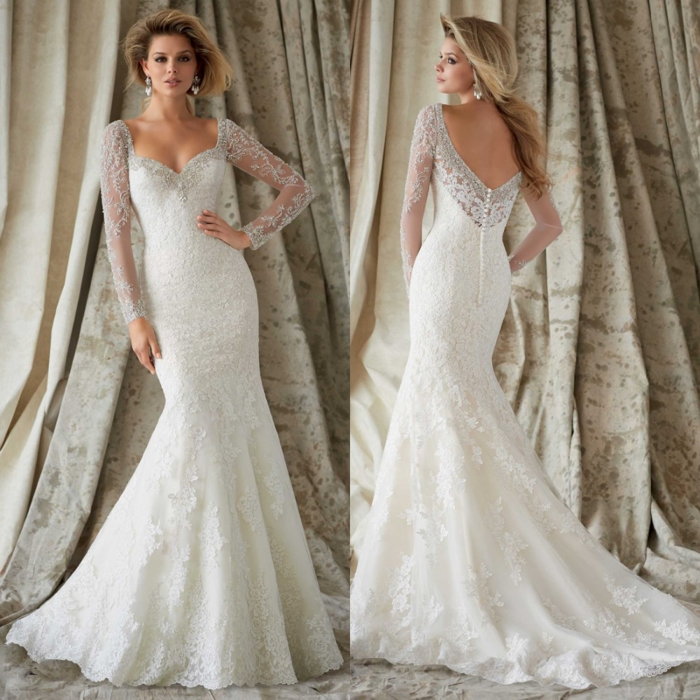 New long vintage lace wedding dress bridal gown with for Lace sleeve backless wedding dress