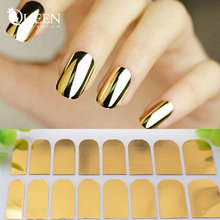 Adhesive Nail Art Stickers,6sheets/lot Gold Silver Black Nail Patch, Fashion DIY Full Cover Nail Beauty Supplies