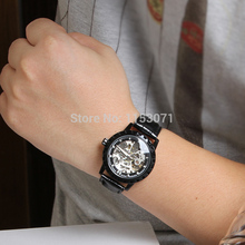 WRG8079M3B2 Winner brand automatic men black color skeleton business dress watch with gift box free shipping