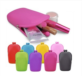 fedex free shipping 100pcs/lot Fashion Jelly Rubber Silicone Cosmetic Makeup Bag Coin Purses Cellphone bag 10 color