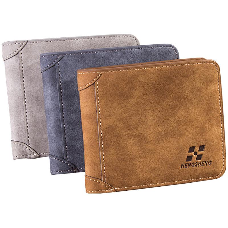 New arrival Vintage Short designer Nubuck Leather Man wallets Solid purse men card holders monederos carteras hombre