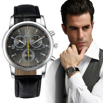 Новые люксовые модные аналоговые мужские часы с кожаным ремешком