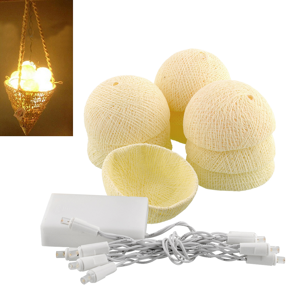 Aladin 10 LED Romantic Cotton Ball Battery String Light Ivory White Party Patio Decor Decoration 1.8M<br><br>Aliexpress