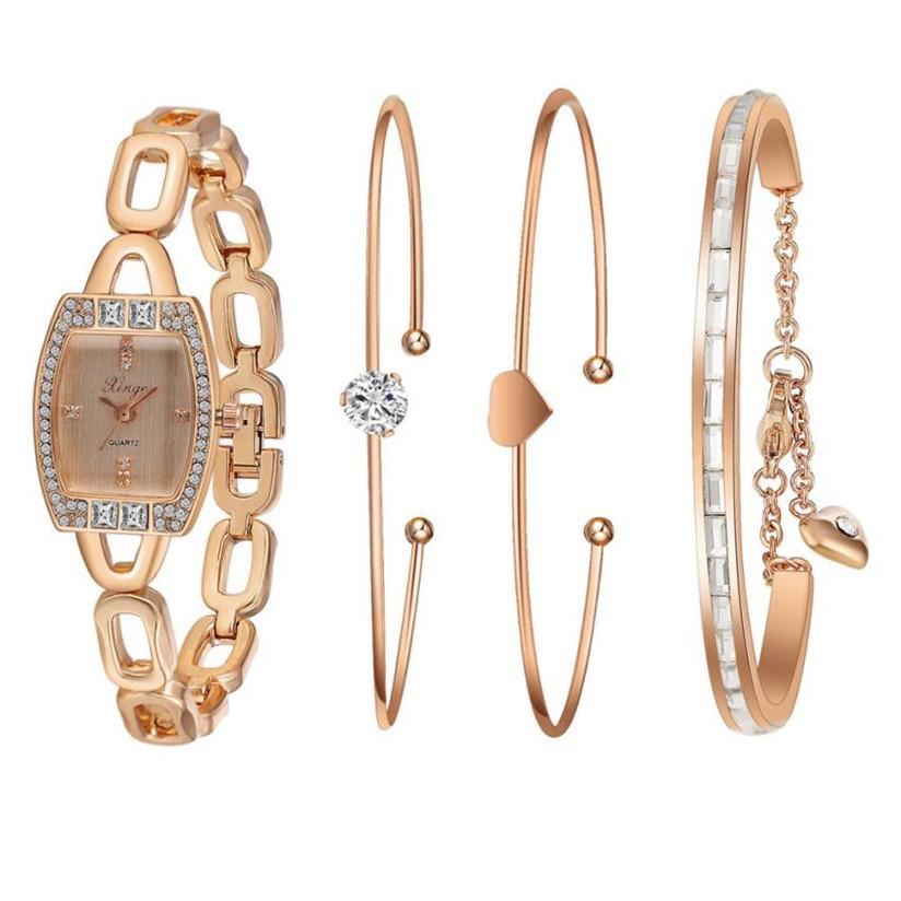 Hot Marketing Women Gold Rhinestone Love Bangle Watch And Bracelet Set 592R WJul8(China (Mainland))