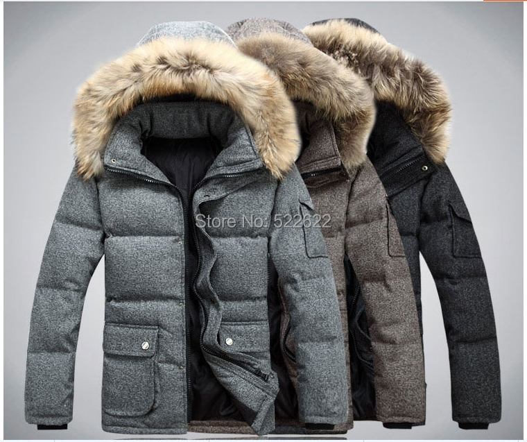 2014 Winter Jacket Men & Parka New Outdoors Natural Fur Hooded Warm White Duck jacket Wadded Casual Overcoat Coats - 5 star store