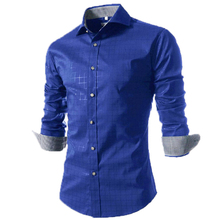 Camisa Masculina Slim Fashion Men Shirt 2016 New Brand Casual Long-Sleeved Chemise Homme Plaid Male Large Size XXXXL VSKA(China (Mainland))