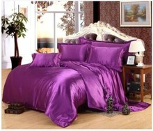 Deep Purple Silk Satin Bedding set Cal Super king size queen full twin quilt duvet cover fitted bed sheet double bedspread 5pcs(China (Mainland))