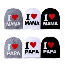 New autumn hot cotton knit cap for child girl children love PAPA MAMA I winter hats baby(China (Mainland))