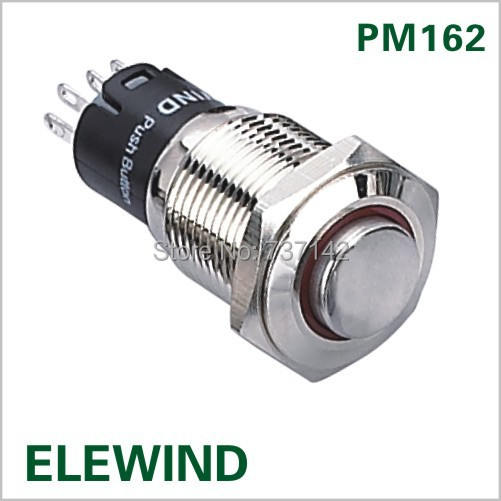 (Hot !) 16mm High flat head Momentary push button switch(PM162H-11E/R/12V/N/IP65,CE,ROHS)(China (Mainland))