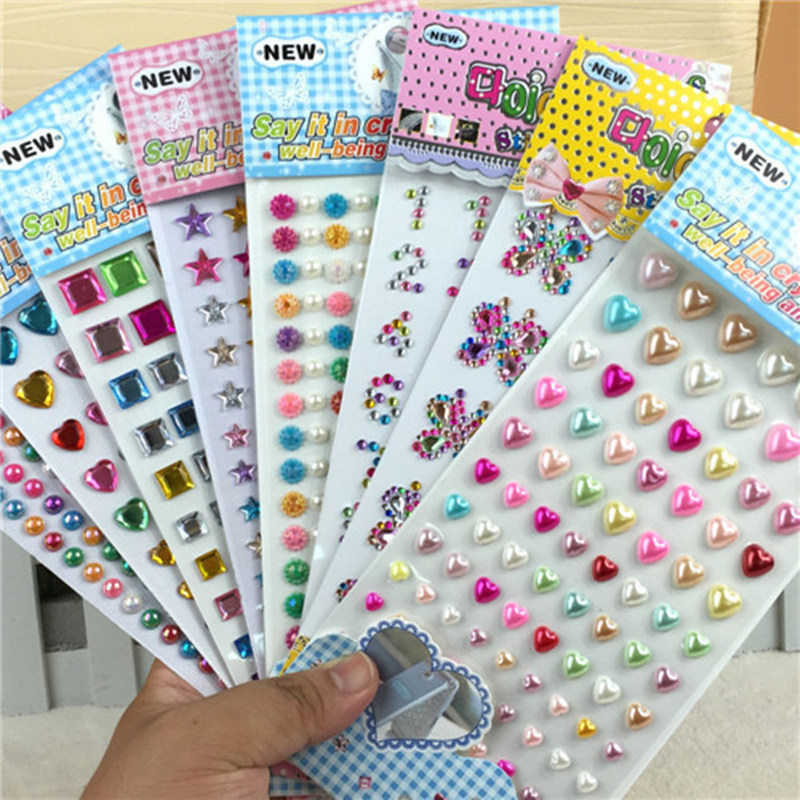 Many Styles Mixed Color Acrylic Rhinestone Crystal Decoration Stickers 3D Baby Kids boys girls DIY Cute Children toys Stickers(China (Mainland))