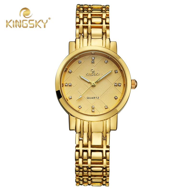 Brand Kingsky 2016 Ladies Luxury Gold Bracelet Watches with Fine Alloy Strap Women Dress Watch rhinestone quartz watch(China (Mainland))