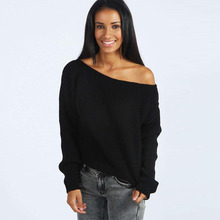Women Autumn Spring Sexy Off The Shoulder Chunky Black Grey Knitted Oversized Sweater Baggy Jumper Top #81636(China (Mainland))