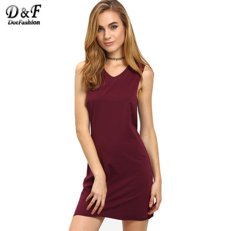 Dotfashion 2016 Ladies Summer Sexy Mini Dresses Women Plain Dark Purple Sleeveless V Neck Hollow Out Short Dress(China (Mainland))