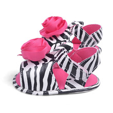 Zebra Leopard Summer Newborn Baby Kids Girls Sweet Shoes Princess Infant Toddler Flower Dress Soft Soled Non-slip Shoes(China (Mainland))