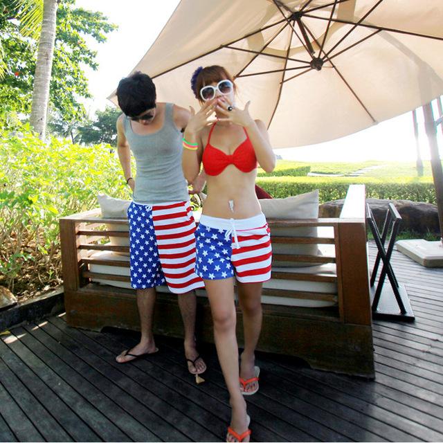 2016 на лето конфеты цвет цветные высокой талией пляжные шорты женские и мужчины ...