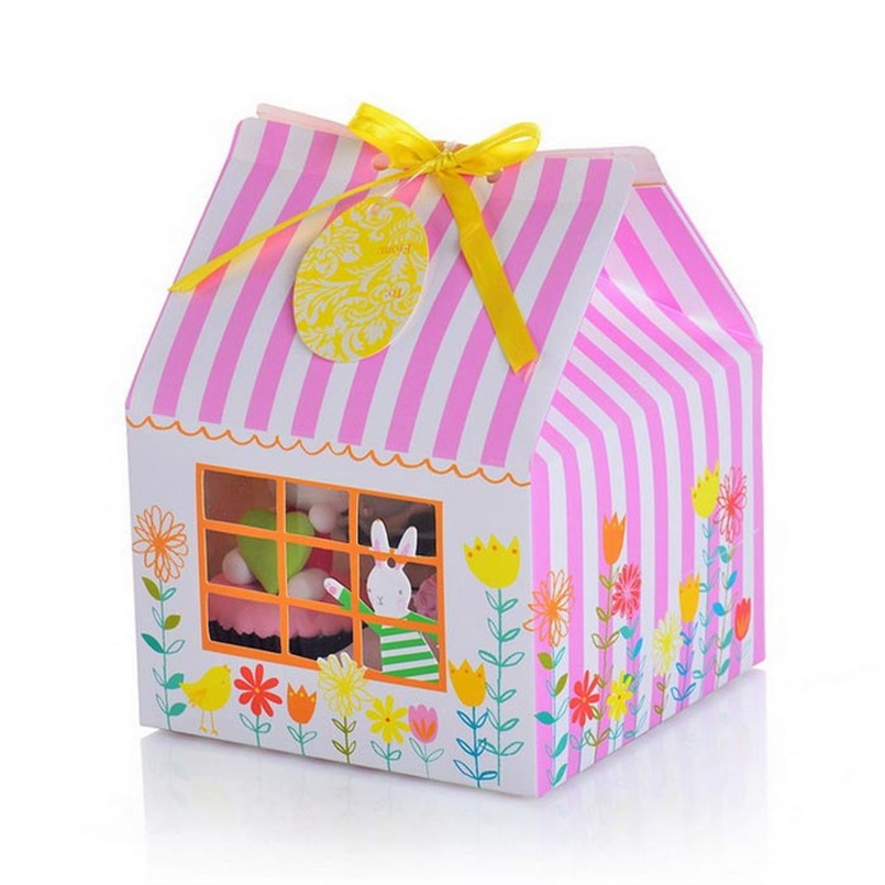 Bunny Rabbit Paper House Muffin Cupcake Box 4 Holes With Insert and PVC Window Pack of 12pcs(China (Mainland))