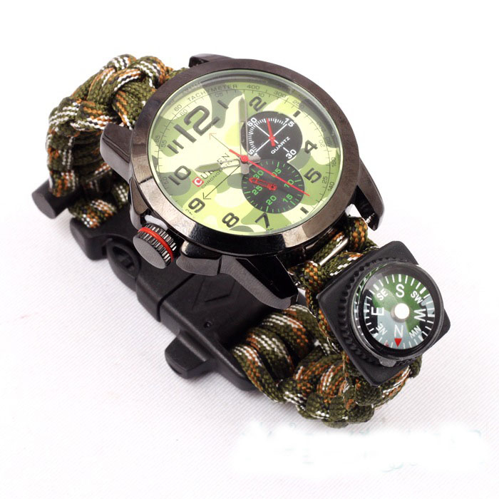 New! Multicam Outdoor camping Travel Kit Watch With survival Flint Fire starter paracord Compass rescue Whistle rope<br><br>Aliexpress