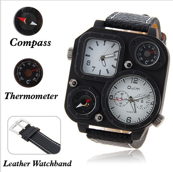 authentic oulm branded military watch compass thermometer multifunction watch men boyfriend style watch gift for valentine days(China (Mainland))