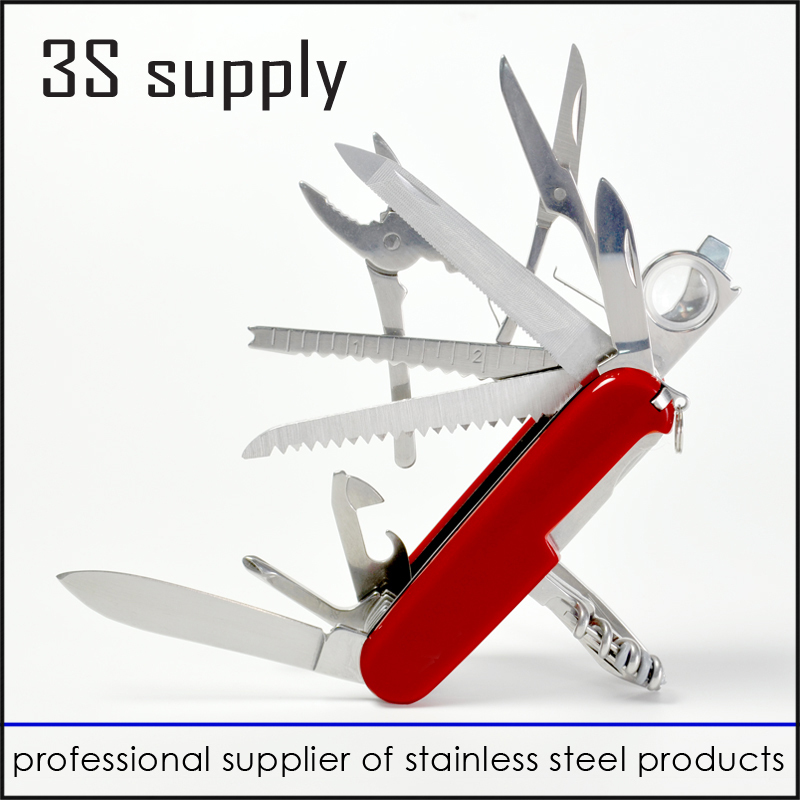 red swiss stainless steel outdoor camping survival pocket knife tactical folding knife with Multi Functional knives