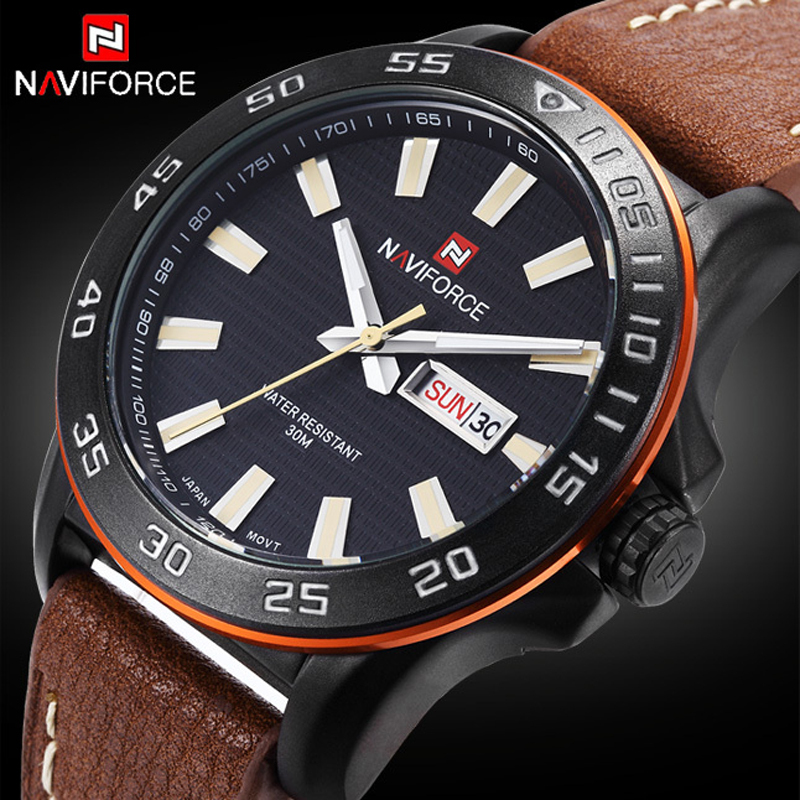 2015 Brand NAVIFORCE sport Army Military men luxury brand watch Quartz Casual Leather clock Men Wrist Watches Relogio Masculino<br><br>Aliexpress