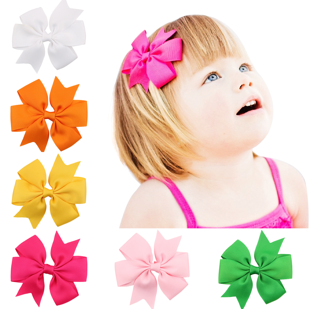 3 INCH 2PCS hair clip bow flower children accessories barrettes hair accessories kids hairpins boutique clips girls headwear
