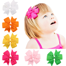 Buy 3 INCH 2PCS hair clip bow flower children accessories barrettes hair accessories kids hairpins boutique clips girls headwear for $1.10 in AliExpress store