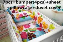 Promotion! 6/7PCS Baby Crib Bedding Set 100% Cotton,High Quality Baby Cot Bedding Set Nursery,Unisex  ,120*60/120*70cm
